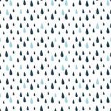 Teste padrão da garatuja do vetor com pingos de chuva Fotografia de Stock Royalty Free