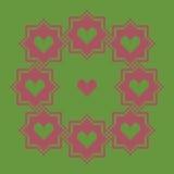 Teste padrão da grinalda do ponto com corações Quadro cor-de-rosa em um fundo verde Fotografia de Stock