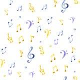 Teste padrão da música do respingo da aquarela Imagens de Stock