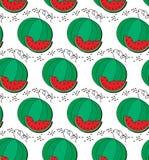 Teste padrão da melancia e da fatia Imagens de Stock Royalty Free