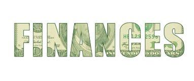 Teste padrão da moeda na palavra que representa FINANÇAS ilustração stock