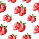 Teste padrão da morango do doce de verão da aquarela Foto de Stock Royalty Free