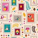 Teste padrão da natureza dos caráteres das flores, dos pássaros, dos cogumelos & dos caracóis Foto de Stock Royalty Free
