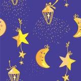 Teste padrão da noite com lua, estrelas Foto de Stock Royalty Free