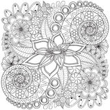 Teste padrão da página da coloração do redemoinho da flor imagem de stock