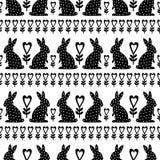 Teste padrão da Páscoa com coelhinho da Páscoa e flores no fundo branco Fotos de Stock