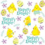 Teste padrão da Páscoa com galinhas e flores Imagem de Stock