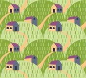 Teste padrão da paisagem da vila Imagens de Stock