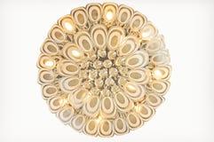 Teste padrão da pena do pavão da iluminação de cristal moderna do teto Foto de Stock Royalty Free