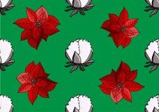 Teste padrão da poinsétia e do Natal do algodão ilustração do vetor