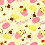 Teste padrão da princesa dos doces com queque e coração Fotos de Stock