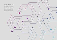 Teste padrão da rede da ciência, linhas de conexão e pontos no fundo simples imagens de stock
