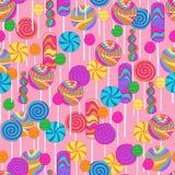 Teste padrão da repetição dos doces dos Lollipops Fotografia de Stock