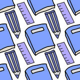 Teste padrão da repetição dos seamles das réguas e dos lápis dos livros Imagem de Stock