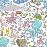 Teste padrão da vida marinha Imagem de Stock Royalty Free