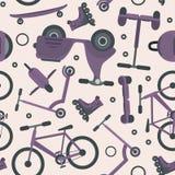 Teste padrão da violeta pálida com transporte do adolescente do ciclismo ilustração royalty free