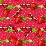 Teste padrão das bagas Frutifica o esboço da cereja e da morango frescas Fotos de Stock Royalty Free