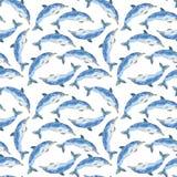 Teste padrão das baleias da aquarela Imagens de Stock Royalty Free