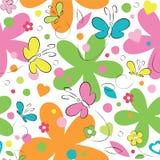 Teste padrão das borboletas e de flores Foto de Stock