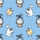 Teste padrão das cestas, dos pintainhos e dos coelhos da Páscoa Foto de Stock