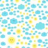 Teste padrão das crianças do vetor com as nuvens azuis bonitos e o sol ilustração do vetor