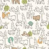 Teste padrão das criaturas da floresta Imagem de Stock