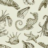 Teste padrão das criaturas do mar Foto de Stock Royalty Free