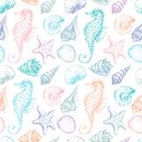 Teste padrão das criaturas do mar ilustração royalty free