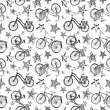 Teste padrão das estrelas e das bicicletas da garatuja Foto de Stock