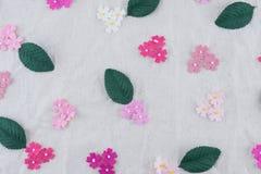 Teste padrão das flores de papel do tom cor-de-rosa e das folhas do verde Imagens de Stock Royalty Free