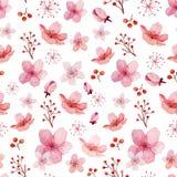 Teste padrão das flores e das folhas Fotos de Stock Royalty Free