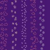 Teste padrão das flores e de borboletas dos corações Fotografia de Stock