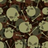 Teste padrão das forças armadas do crânio e dos ossos Ornamento de esqueleto do exército morte ilustração royalty free