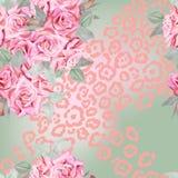 Teste padrão das rosas da aquarela com textura da pele do leopardo Imagens de Stock