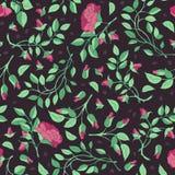 Teste padrão das rosas e dos ramos em um fundo marrom Imagens de Stock Royalty Free