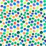 Teste padrão de às bolinhas colorido da aquarela Imagens de Stock Royalty Free