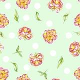 Teste padrão de às bolinhas floral sem emenda com as flores exóticas roxas e amarelas da aquarela (peônia) e as folhas do verde Fotografia de Stock