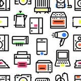 Teste padrão de ícones dos aparelhos eletrodomésticos imagem de stock royalty free