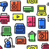 Teste padrão de ícones dos aparelhos eletrodomésticos foto de stock royalty free