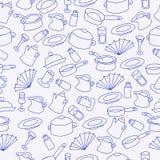 Teste padrão de acessórios da cozinha Imagens de Stock Royalty Free