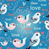Teste padrão de amantes dos pássaros Fotografia de Stock Royalty Free