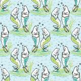 Teste padrão de Aqua Magical Purrmaids Blue Fantasy do oceano ilustração stock