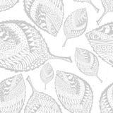 Teste padrão de Autumn Grayscale Seamless Stylized Leaf ilustração do vetor