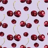 Teste padrão de bagas marrom-vermelhas da cereja em um baixo estilo poli, em um fundo cor-de-rosa Teste padr?o ilustração do vetor