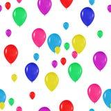 Teste padrão de balões coloridos ao estilo do realismo para projetar cartões, aniversários, casamentos, festa, feriados, convites Imagens de Stock