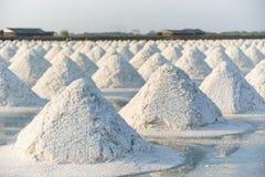 Teste padrão de bandejas de sal no fundo do céu azul fotografia de stock royalty free