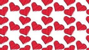Teste padrão de bonito, bonito, amando, sumário, vermelho, linhas feitas malha dos corações pintados com garranchos coloridos com ilustração stock
