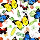 Teste padrão de borboleta da aquarela Imagens de Stock