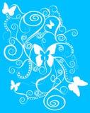 Teste padrão de borboletas da fantasia com espirais Fotografia de Stock Royalty Free