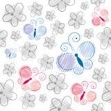 Teste padrão de borboletas dos desenhos animados Fotos de Stock Royalty Free